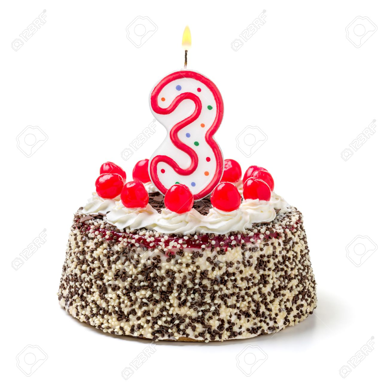 32503889-birthday-cake-with-burning-candle-number-3